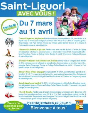 Défi Santé à Saint-Liguori du 7 au 11 mars.