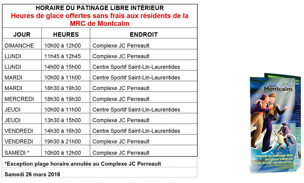 Horaire du patinage libre