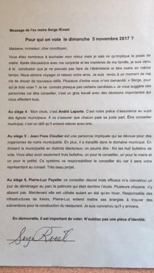 L'ex-maire de Saint-Liguori met les candidats dans l'embarras. Des plaintes au DGEQ