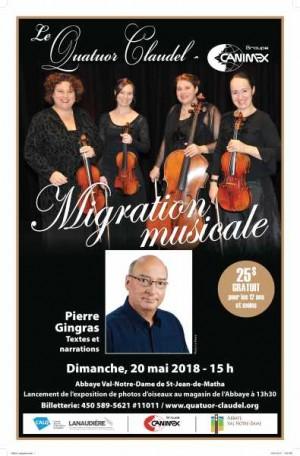 Migration musicale et exposition de photos avec le Quatuor Claudel‐Canimex